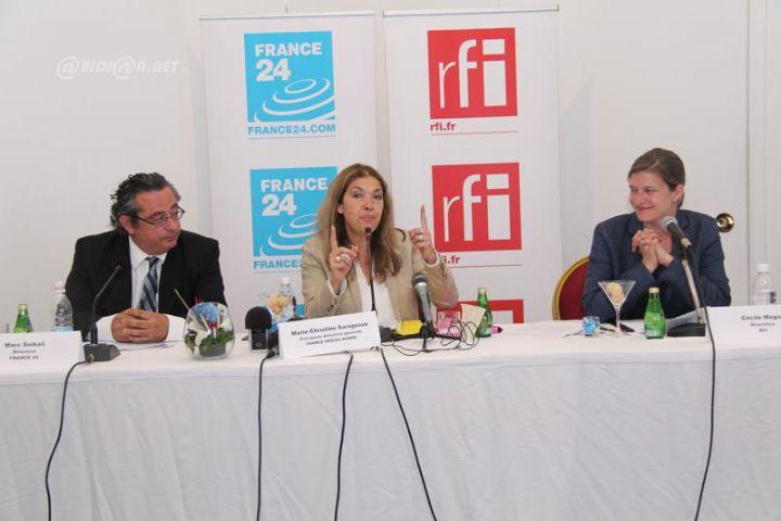 Marie-Christine saragosse lors de la conférence de presse